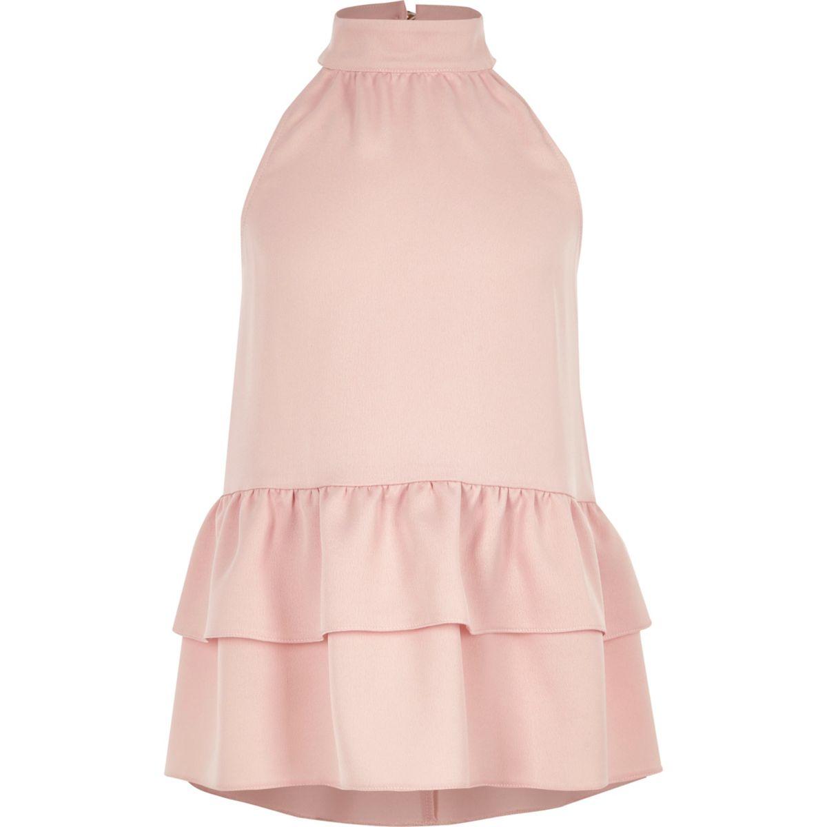 Girls pink halter neck frill hem top