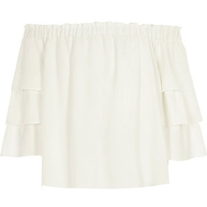 Girls cream bardot frill sleeve top
