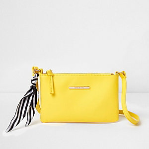 Girls yellow stripe scarf mini cross body bag