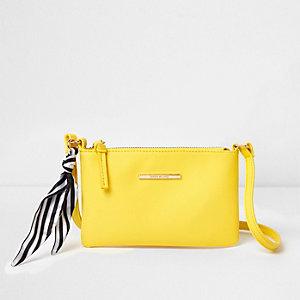 Mini sac à bandoulière jaune avec foulard rayé pour fille