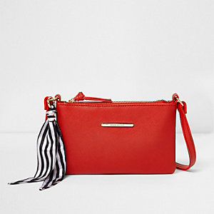 Girls red stripe scarf cross body bag