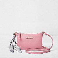 Girls pink polka dot scarf cross body bag