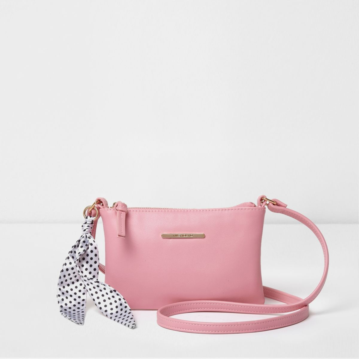 Girls pink polka dot scarf cross body bag