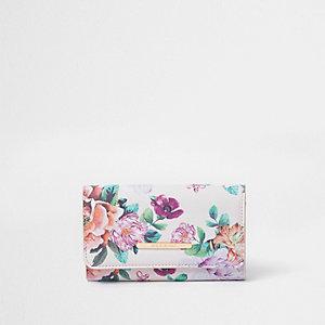 Porte-monnaie à deux rabats imprimé floral rose pour fille