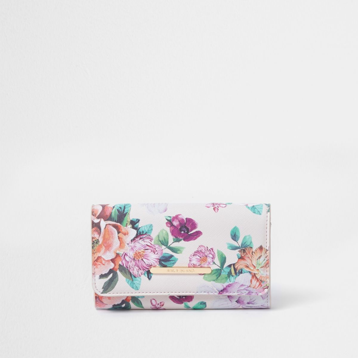 Girls pink floral print trifold purse