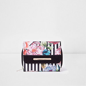 Girls black floral stripe print foldout purse