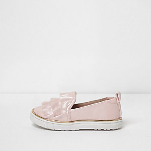 Mini girls pink satin ruffle plimsolls