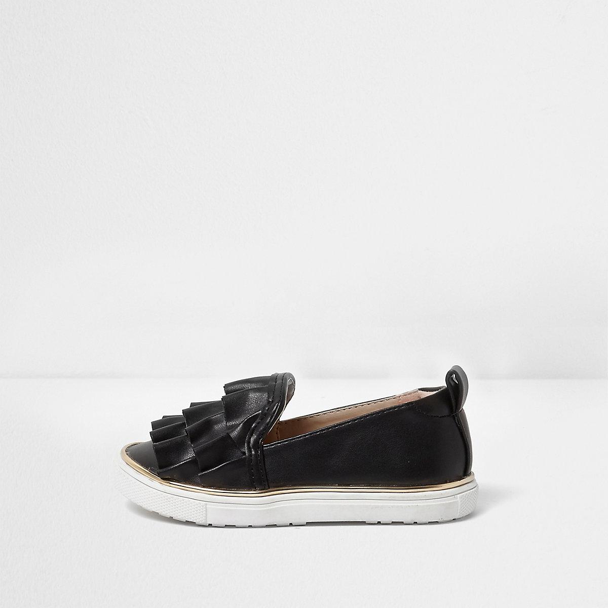 Mini girls black ruffle slip on plimsolls