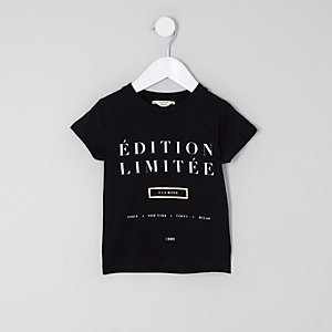 Mini girls black 'edition limitee' T-shirt