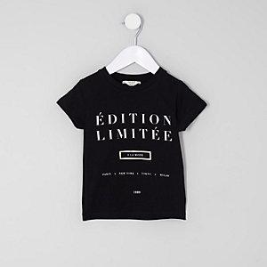 Mini - Zwart T-shirt met 'edition limitee'-print voor meisjes