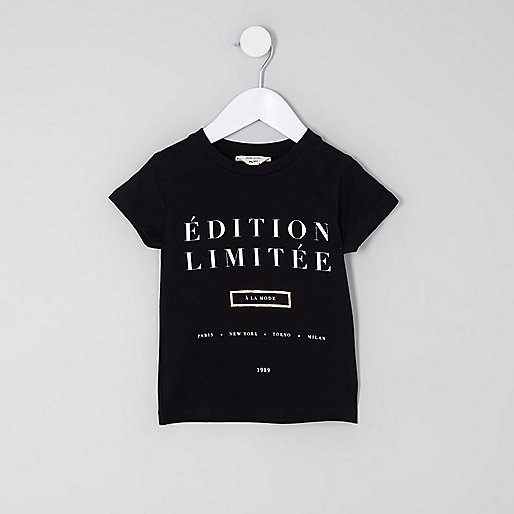 Mini girls black 'edition limitee' T-shirt