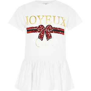 Girls white 'joyeux' sequin peplum T-shirt