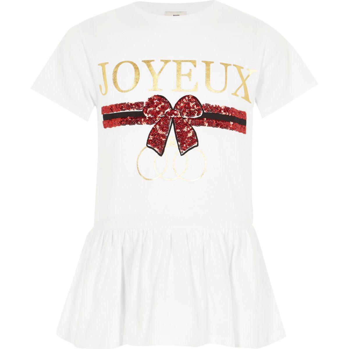 Girls white 'joyeux' sequin peplum T-shirt
