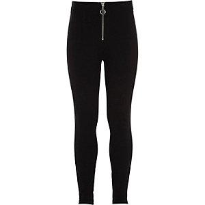 Zwarte legging van ponte-stof met rits voor meisjes