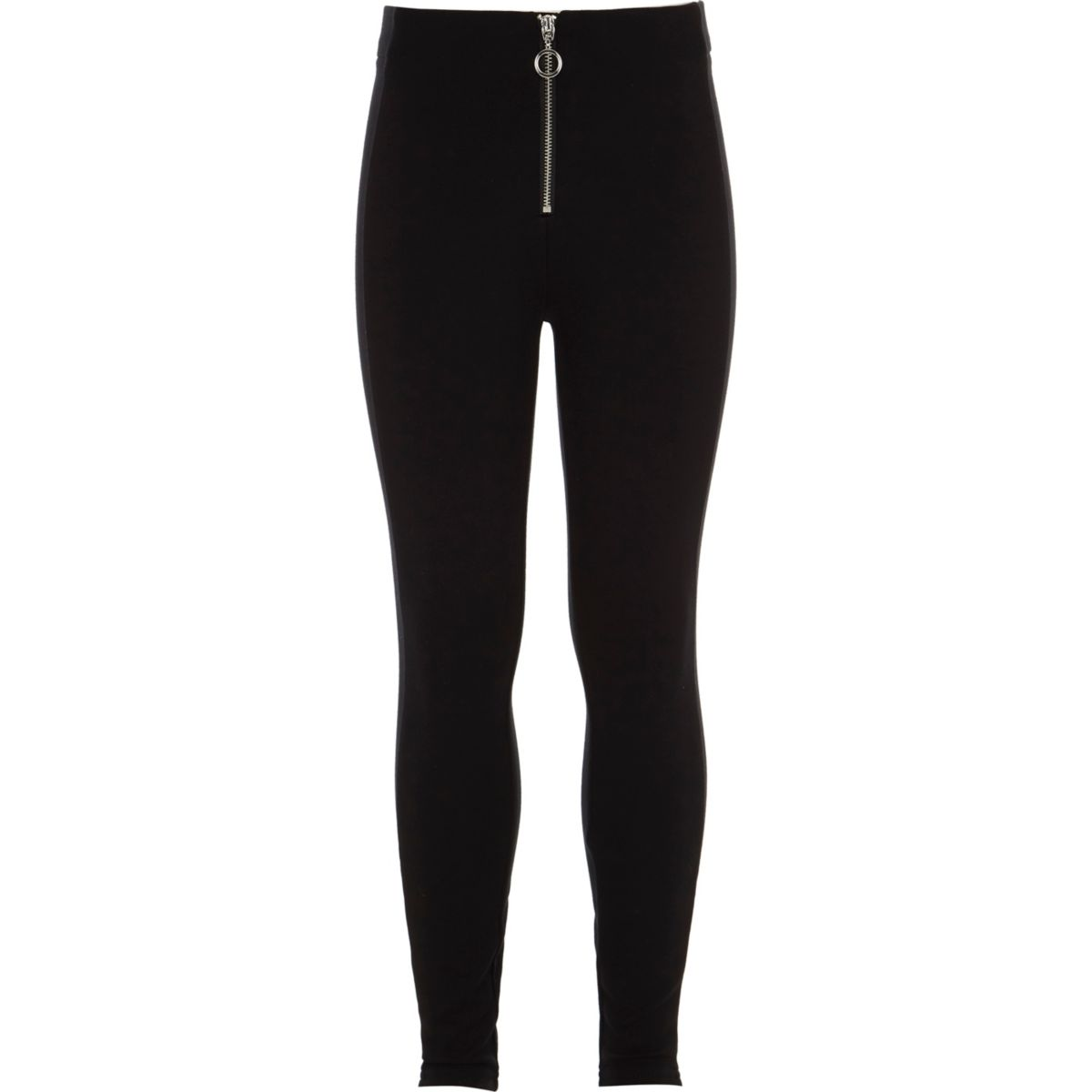 Girls black front zip ponte leggings
