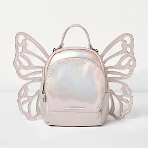 Girls silver iridescent butterfly backpack