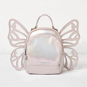 Sac à dos argenté irisé en forme de papillon pour fille