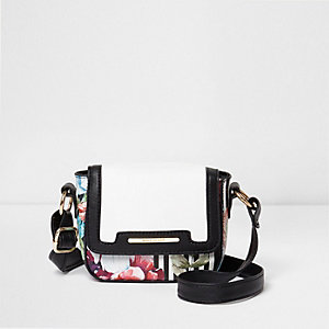 Girls white floral stripe cross body bag