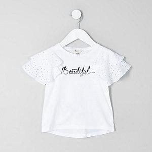 Mini girls white 'beautiful' broderie T-shirt