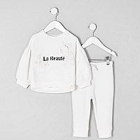 Mini girls cream 'beaute' sweatshirt outfit