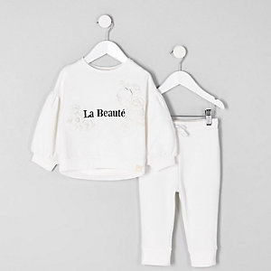 Mini girls cream 'beaute' sweatshirt outfit