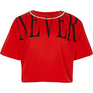 Girls red 'never' necklace cropped T-shirt