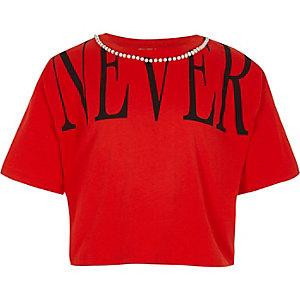 Rood cropped T-shirt met 'Never'-print en ketting voor meisjes