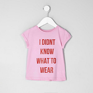 Mini girls pink 'what to wear' print T-shirt