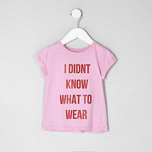 Mini - Roze T-shirt met 'what to wear'-print voor meisjes