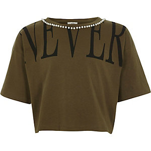 Girls khaki 'never' pearl cropped T-shirt