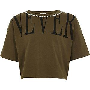 Kaki cropped T-shirt met 'never'-print en pareltjes voor meisjes
