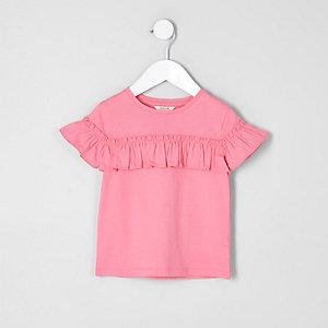 Mini - Roze T-shirt met ruches en korte mouwen voor meisjes