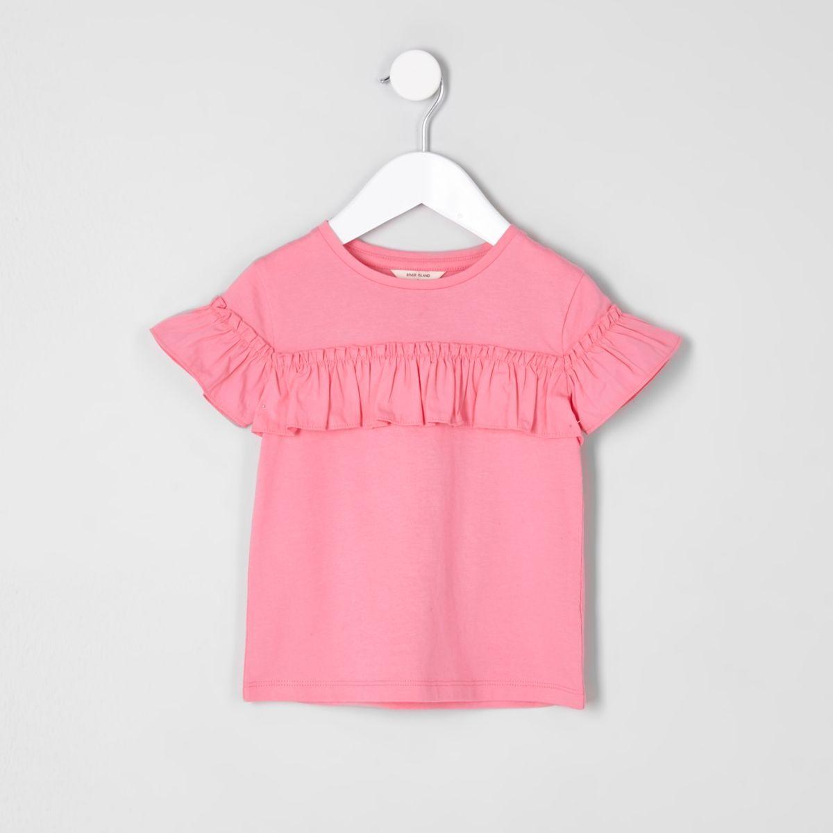 Mini girls pink frill short sleeve T-shirt