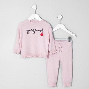 Mini - Outfit met pullover met kwastjes en 'gorgeous'-print voor meisjes