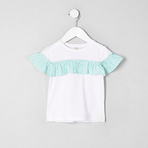 Mini girls white stripe frill front T-shirt