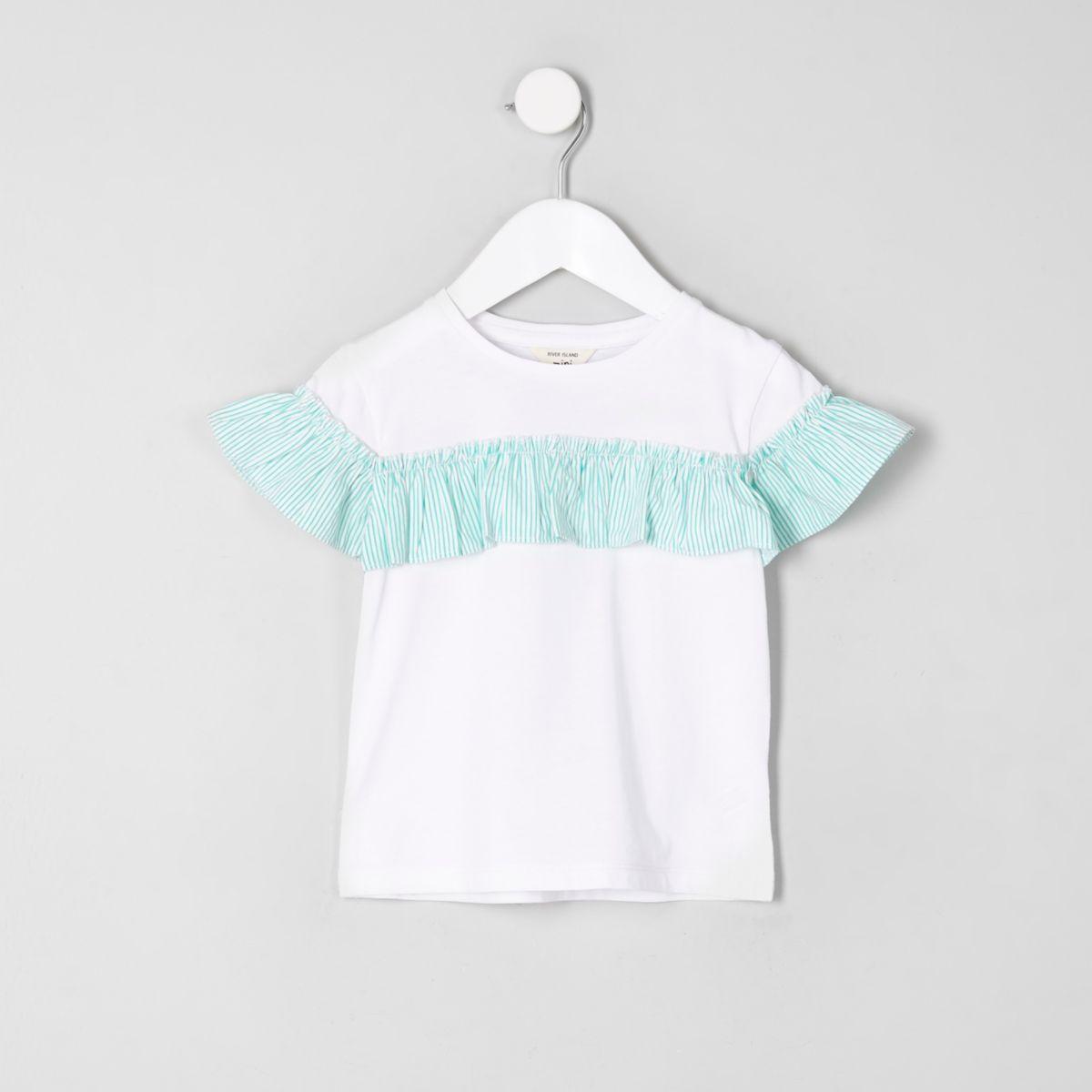 Mini girls white stripe frill front T-shirt