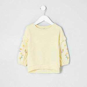 Sweat en feutre brodé jaune mini fille