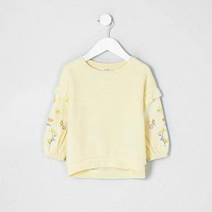 Mini - Geel geborduurd sweatshirt met vilt voor meisjes