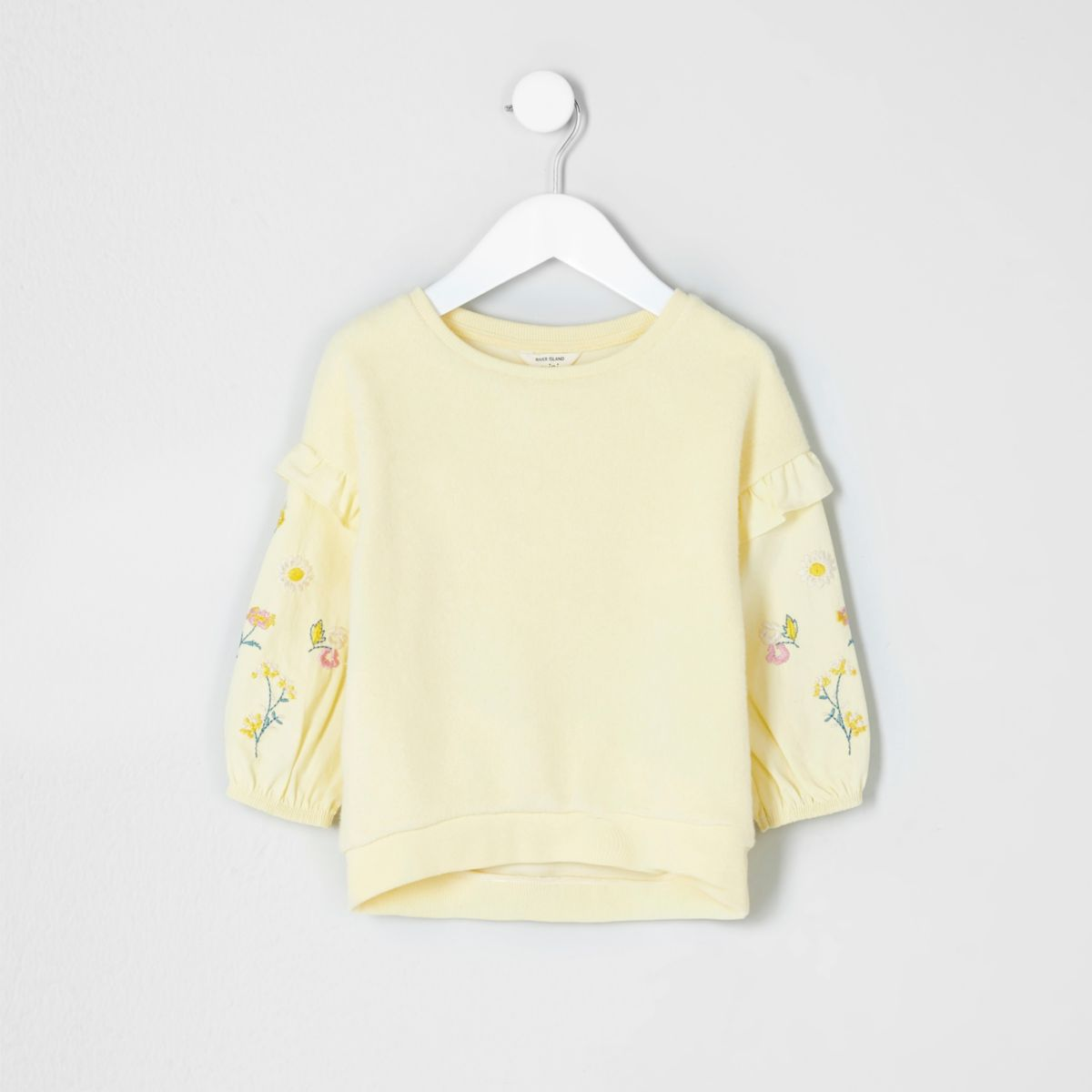 Mini girls yellow felt embroidered sweatshirt
