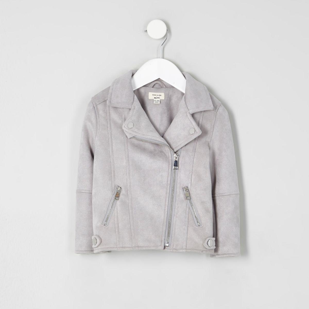 Mini girls grey faux suede lined biker jacket