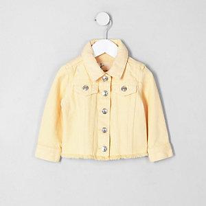 Veste en jean jaune à ourlet effiloché mini fille