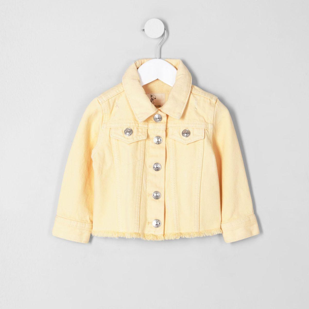 Mini girls yellow frayed hem denim jacket