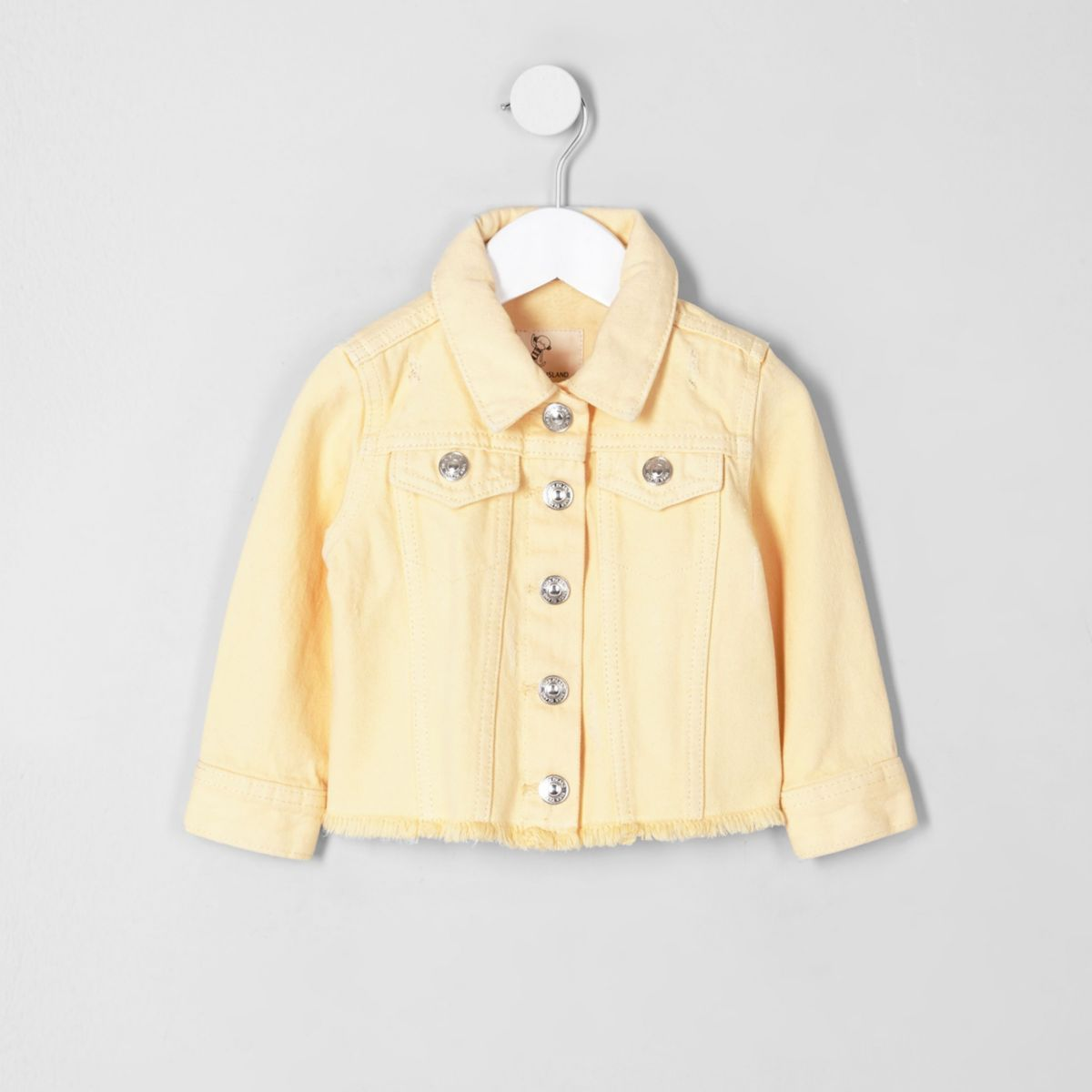 Mini girls yellow frayed hem denim jacket