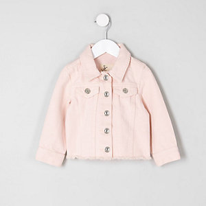 Mini girls pink frayed hem denim jacket