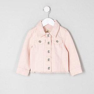 Pinke Jeansjacke mit Fransensaum