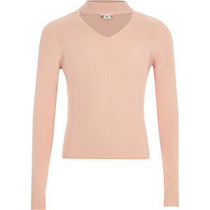 Girls pink choker neck rib knit jumper