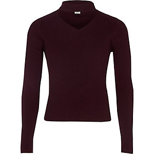 Girls dark red ribbed choker jumper