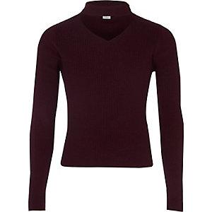 Donkerrode geribblede pullover met choker voor meisjes