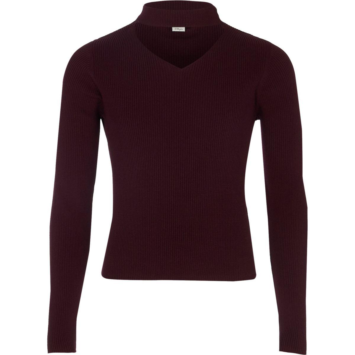 Girls dark red ribbed choker sweater