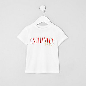Mini girls white 'enchantee' print T-shirt
